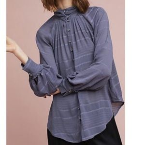 Feather & bone long sleeve button down blouse